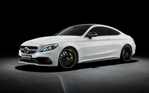 Picture Mercedes-Benz, Coupe, AMG, coupe, C-Class, Mercedes, black background, AMG, C205