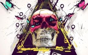 Picture skull, white background, emo