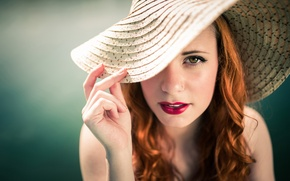 Picture girl, portrait, hat, The pinup