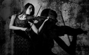 Picture girl, violin, the game, Shadow Music