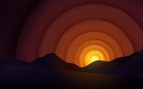 Wallpaper circles, mountains, The sun