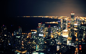 Picture night, Chicago, Il, bokeh, lights lake