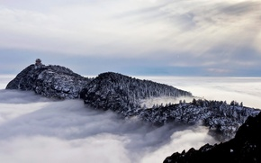 Picture clouds, trees, mountains, rocks, China, pagoda