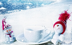Picture winter, snow, new year, Christmas, snowman