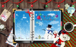 Picture things, new year, snowmen