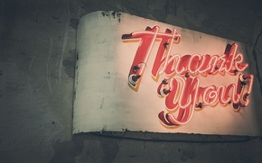Picture light, the inscription, tube, neon, sign, thank you, thank you
