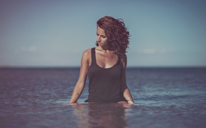 Picture water, girl, Mike, curls, curls