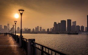 Picture the sun, river, China, skyscrapers, lights, China, Asia, Shanghai, Shanghai, promenade