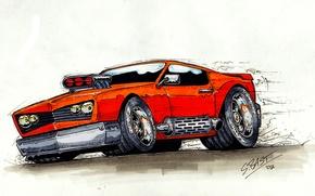 Picture orange, engine, speed, Hot Rod, muffler, Drag