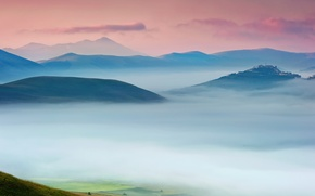 Picture the sky, fog, house, morning, valley, Italy, estate, Umbria