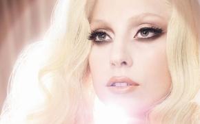 Wallpaper girl, light, face, makeup, blonde, lips, singer, Lady Gaga, Lady Gaga