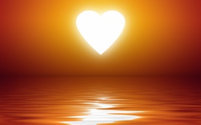 Picture wave, water, the sun, sunset, heart, heart