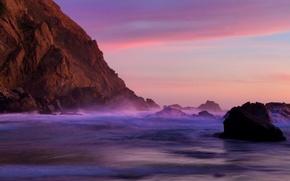 Picture beach, sunset, rock, stones, the ocean, california, twilight, CA, quiet, pfeiffer beach, Pfeiffer