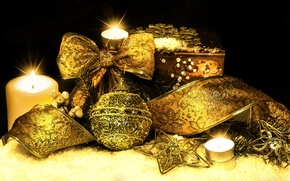Picture branches, candles, tape, tree, gold plated, asterisk, Christmas decorations, bows