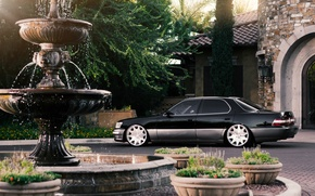 Picture Lexus, fountain, black, mansion, rear