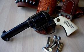 Wallpaper bullets, revolver, Weapons, holster, the inscription