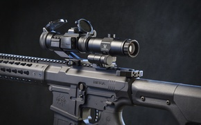 Picture metal, assault rifle, telescopic sight
