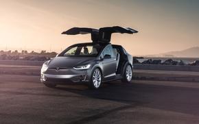 Wallpaper Car, Model, Tesla, Electric, Doors, X P90D