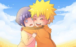 Picture joy, children, naruto, art, confusion, Uzumaki Naruto, Hinata Hugo