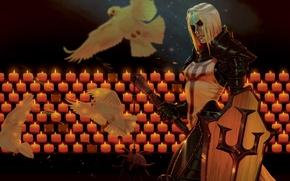 Picture girl, birds, dove, candles, art, shield, diablo 3, crusader, Diablo III: Reaper of Souls