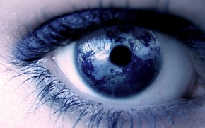 Picture eyes, eyelashes, planet, the pupil