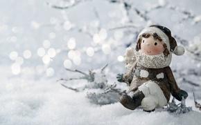 Wallpaper girl, toy, bokeh, snow, twigs, winter, figurine