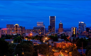 Picture night, the city, lights, home, USA, street, Portland