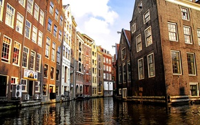 Picture the city, home, buildings, Venetian canal, Amsterdam