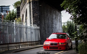 Picture bmw, red, stance, e36, Touring