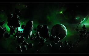 Picture FLIGHT, PLANET, BELT, The ASTEROIDS, SHIPS