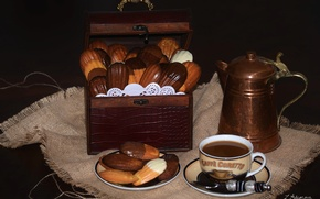 Picture coffee, cookies, chest, still life, coffee pot, Madeleine