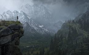 Picture Mountains, Snow, Forest, Lara Croft, Art, Lara Croft, Rise of the: Tomb Raider