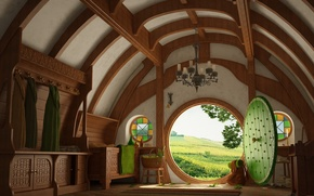 Wallpaper hobbits, the door, house, 156, the Lord of the rings