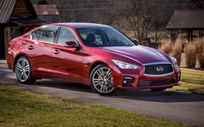 Picture Infiniti, houses, red, lawn, Q50