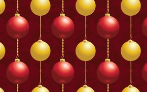 Picture balls, red, yellow, background, holiday, balls, figure, new year, decoration, chain, texture