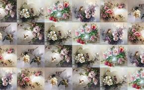 Picture summer, flowers, background, texture, art, bird