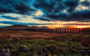 Picture clouds, bridge, the engine, train, the sky, railroad, valley, clouds, sunset