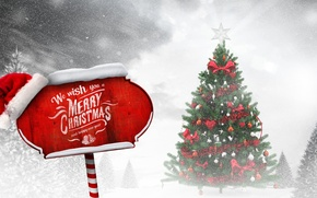 Picture winter, snow, toys, tree, New Year, Christmas, Christmas, winter, snow, tree, decoration, Merry