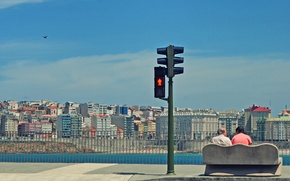 Wallpaper bench, the sky, people beach, traffic light, the city