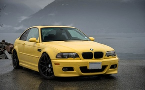 Picture asphalt, yellow, wet, bmw, BMW, front view, yellow, e46