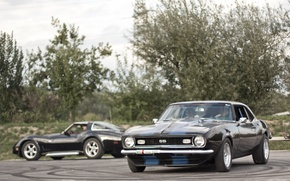 Picture black, chevrolet, muscle, photo, blue, stripes, american, chevy, MMaglica photo, MMaglica