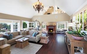 Picture design, sofa, interior, chandelier, fireplace, mansion, living room