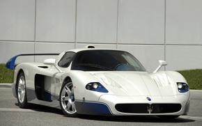 Picture white, blue, Maserati, supercar, white, supercar, blue, Maserati, mc12