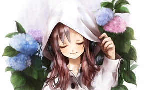 Wallpaper flowers, figure, headphones, hood, girl, cloak, hydrangea