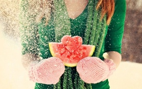Picture winter, girl, snow, love, heart, watermelon, red, love, brown hair, Valentine's day, mittens, feeling, Valentine's …