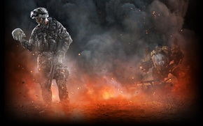 Picture ash, weapons, smoke, skull, soldiers, thunder, Warface