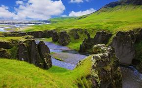 Picture greens, grass, clouds, mountains, stones, rocks, river, Iceland, Fjadrargljufur