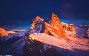 Picture winter, sunset, mountains, rocks, the evening, Italy, ridge, The Dolomites, January