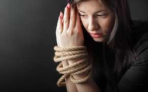 Wallpaper woman, hands, rope, shackles