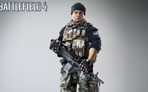 Picture weapons, hat, soldiers, machine gun, fighter, equipment, the vest, clip, Electronic Arts, Battlefield 4, EA …